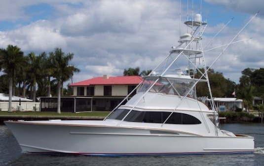 A modern version of Bernie Madoff's Bull, this 55-foot Rybovich is currently priced at close to $2 million at Boats.com