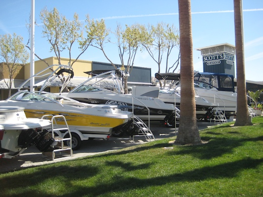 Half a dozen Sea Ray models greet visitors to Jack London Square.