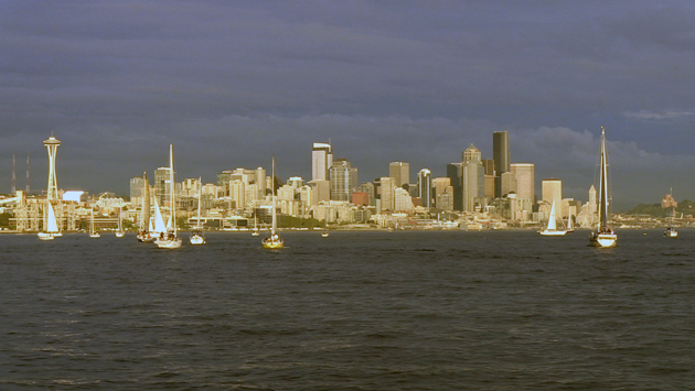 Seattle skyline during Downtown Sailing Series