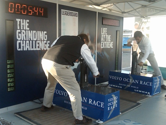 Nick Crang and Dan Brown from Boats.com get stuck in to the Grinding Challenge.