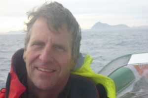 Stan Honey aboard the trimaran Groupama 3 off Cape Horn. Photo courtesy Team Groupama.