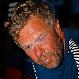Ericsson 3 skipper Magnuss Olsson. Imagine how sore his eyes would be if he weren't winning the current leg.  Photo by Gustav Morin/Ericsson 3/Volvo Ocean Race
