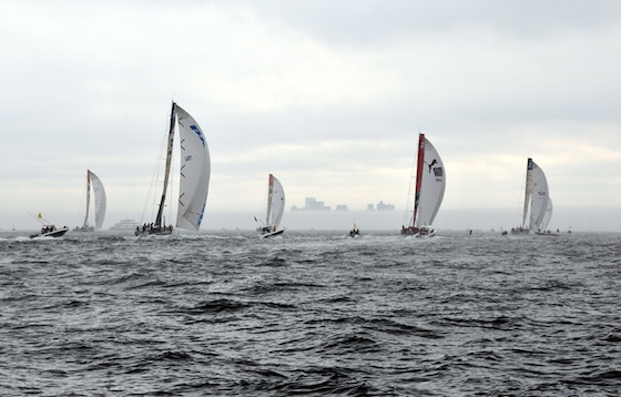 The fog came in during the second race, then dispersed towards Boston in the distance. Photo by Bill Bolin