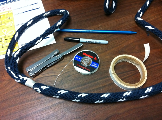 On the left, the finished eye splice in Yale PhD half-inch rope. The materials needed are about the same as for double-braid splices – knife, tape, correct-size fid, marker, and instructions. But the splices are a lot easier. Finished splices should also be whipped or whip-stitched for extra security.