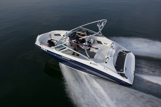 The new 19-foot boats from Yamaha feature a broad bow for added seating space. This AR190 model comes with a wakeboard tower.